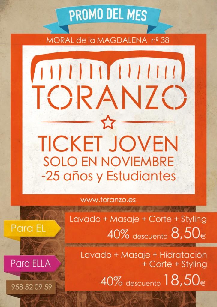 Promo de Noviembre, ticket Joven, Toranzo Peluqueros