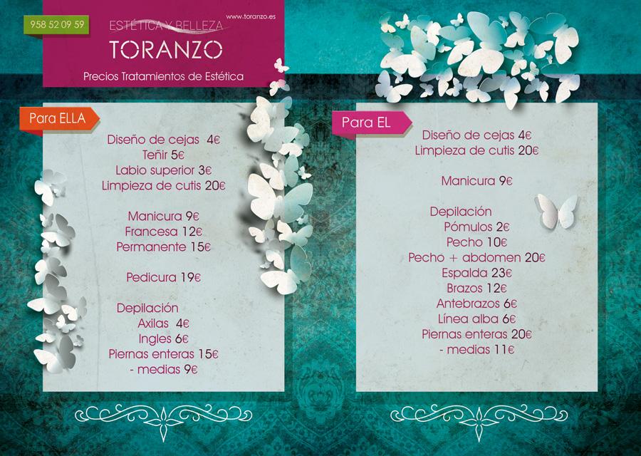 Precios 2015 Estetica y Belleza Toranzo Peluqueros